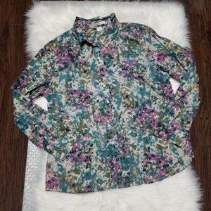 Coldwater Creek   Watercolor Floral Long Sleeve PL